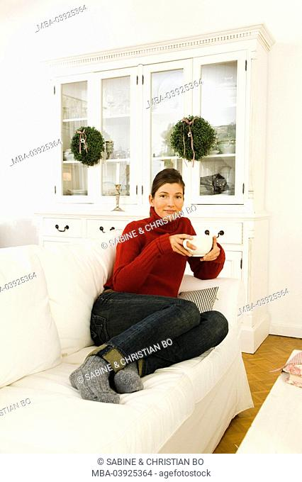 lie, woman, sofa, tea, drinks