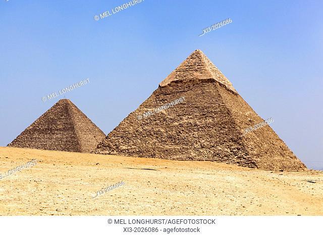Great Pyramid of Giza (Pyramid of Khufu and Cheops), and Pyramid of Khafre (Pyramid of Chephren), Giza, Cairo, Egypt
