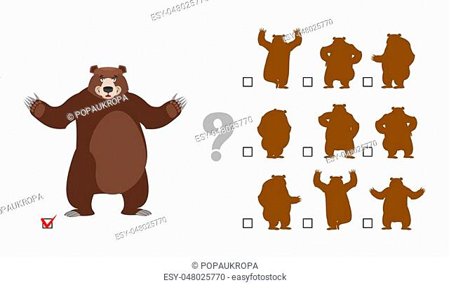 Find correct shadow. Childrens test. Big good bear. Kids educational rebus game