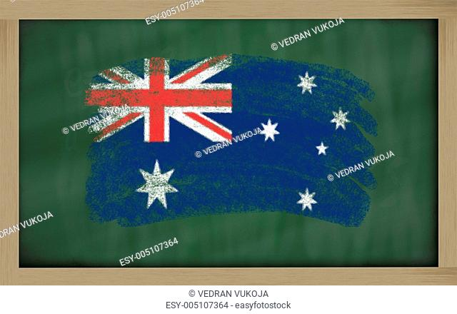national flag of australia on blackboard painted with chalk