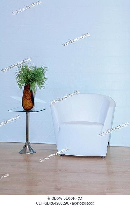 Armchair with a showpiece in a room