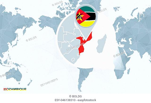 World map centered on America with magnified Mozambique. Blue flag and map of Mozambique. Abstract vector illustration