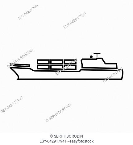 Merchant ship it is black color icon