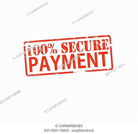 Rubber stamp with text one hundred percent secure payment inside, vector illustration