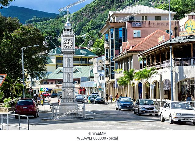 Seychelles, Mahe, Victoria, Clock Tower Albert Street and Independence Avenue