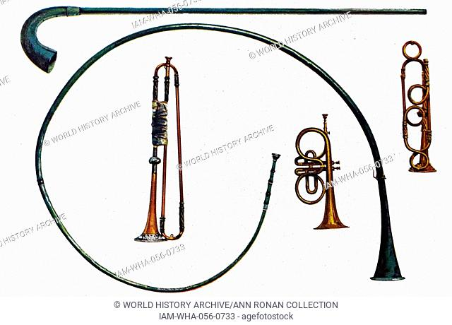 Lituus, Buccina and Cornet Trumpets. The Lituus is from the Roman Cavalry and is the straight instrument with the curved end
