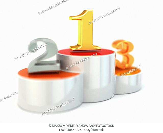 Podium with numbers of places on white isolated background. 3d