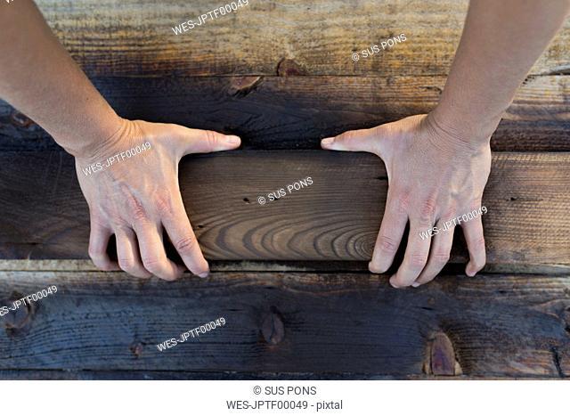Hands on burnt piece of wood