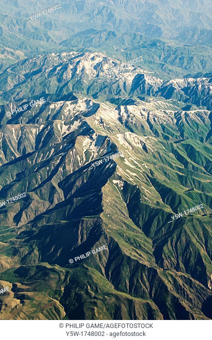 Mountains of Anatolia, Turkey, seen from a commercial aircraft in early June
