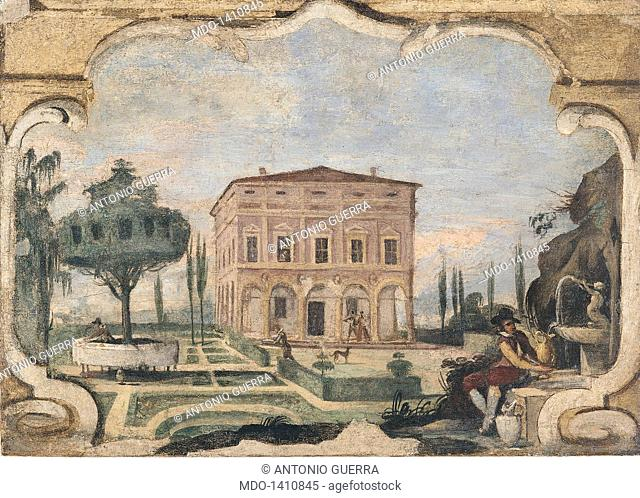 View of Pannini House with Gardens (Veduta di Casa Pannini con i giardini antistanti), by Giovan Francesco Barbieri known as il Guercino, 1615 - 1616