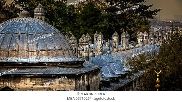 view over the mosque, Süleyman, annex, dome