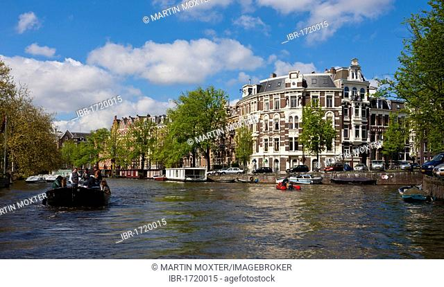 Old residential houses on the Leidsekade canal, Amsterdam, Holland, Netherlands, Europe