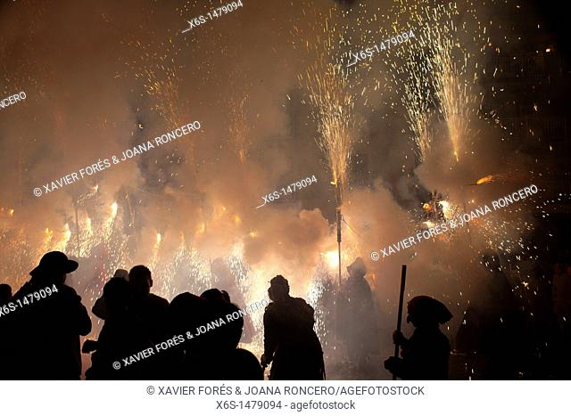 Escaldàrium, Traditional party of fire and water in Caldes de Montbui village performed yearly during July, Vallès Oriental, Barcelona, Spain