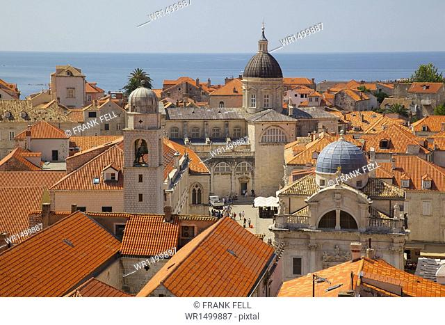 Old Town rooftops and Cathedral dome, UNESCO World Heritage Site, Dubrovnik, Dalmatia, Croatia, Europe