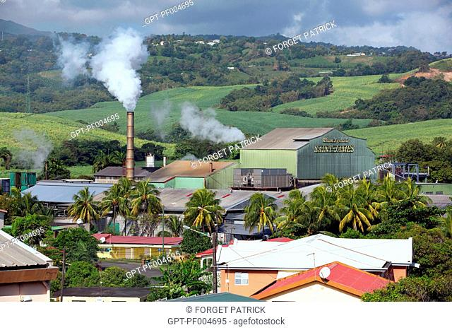 FACTORY AND SMOKESTACK OF THE SAINT-JAMES DISTILLERY, SAINTE-MARIE, MARTINIQUE, FRENCH ANTILLES, FRANCE