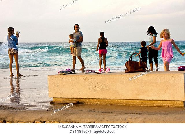 Holidays by the Mediterranean sea, sunset with rough sea Formentera, Balearic Islands, Spain, Europe