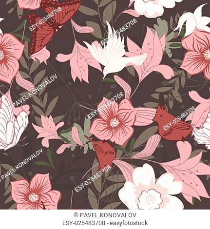 Seamless floral pattern. For easy making seamless pattern just drag all group into swatches bar, and use it for filling any contours