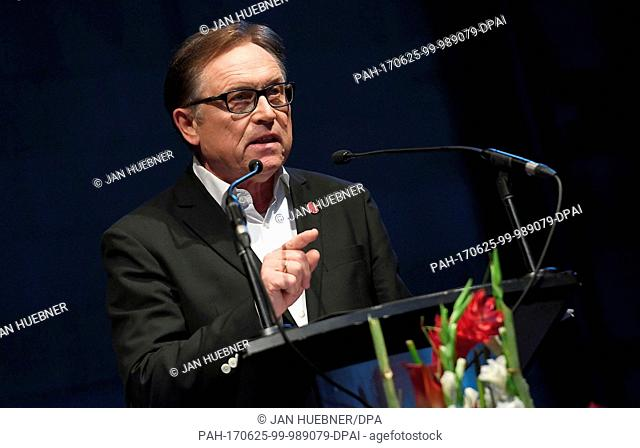 The new Mainz president Johannes Kaluza speaks to the members during the general assembly of the first Bundesliga club FSV Mainz 05 in Mainz, Germany
