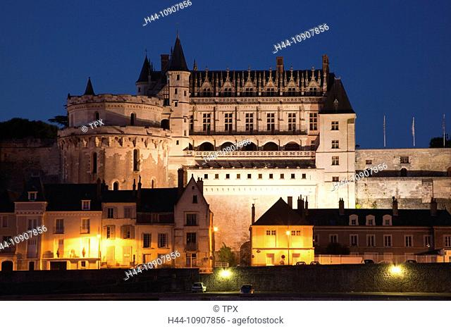 Europe, France, Loire Valley, Loire, Amboise, Amboise Castle, Chateau d' Amboise, Castle, Castles, Loire River, River, Reflection, Night View, Illumination