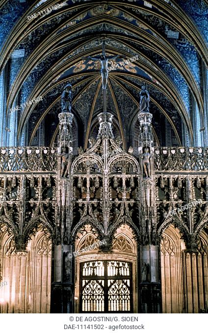 The choir with rood screen and Gothic jube, 15th century, interior of Albi cathedral or Cathedral Basilica of St Cecilia, Albi (UNESCO World Heritage List