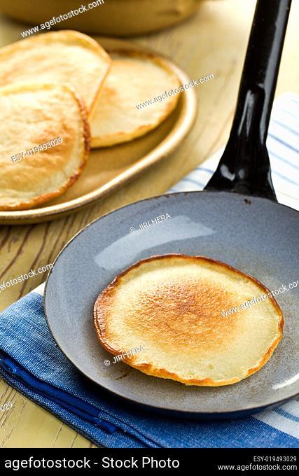 tasty pancake on pan