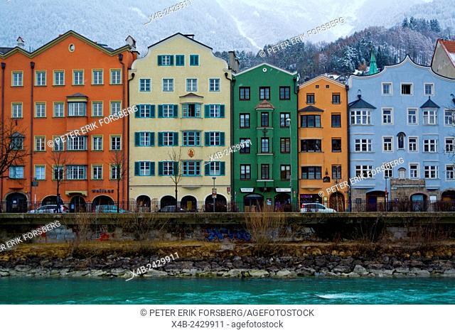 Residential houses, Inn riverside, Mariahilf district, Innsbruck, Inn Valley, Tyrol, Austria