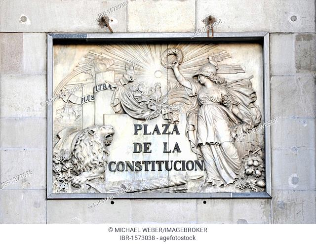 Stone plaque Plaza de la Constitución, reference to constitutional relevance of the Plaça de Sant Jaume, Barcelona, Catalonia, Spain, Europe