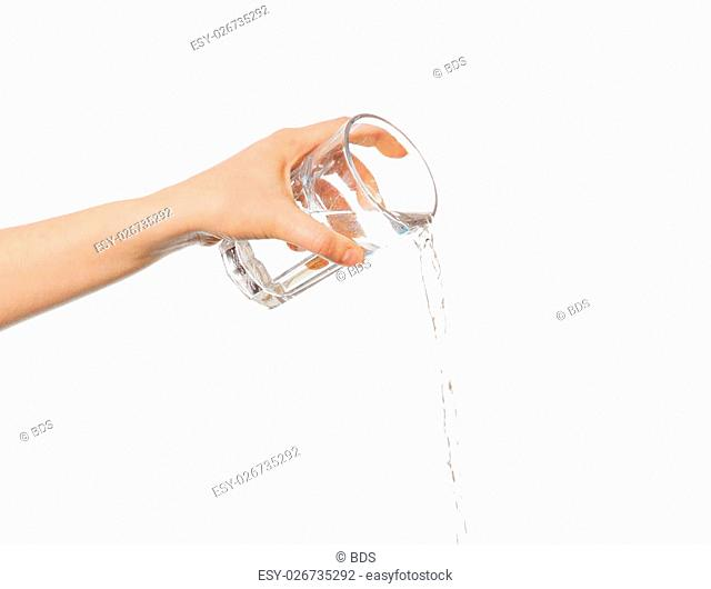 Hand pouring water from glass