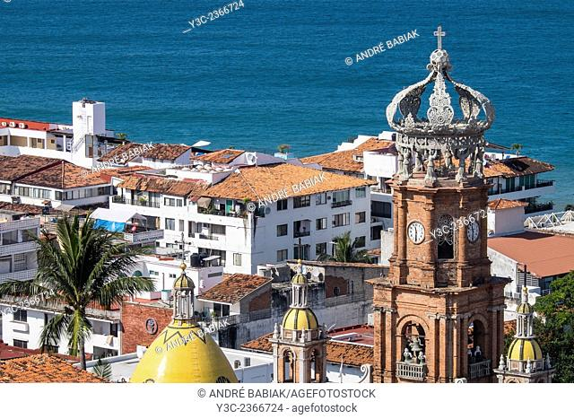 Close up of El Centro Puerto Vallarta with Tower of Church of Our Lady of Guadalupe