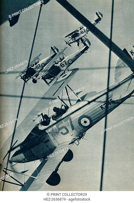 Hawker Hart biplanes flying in formation, c1936 (c1937). Artist: Unknown