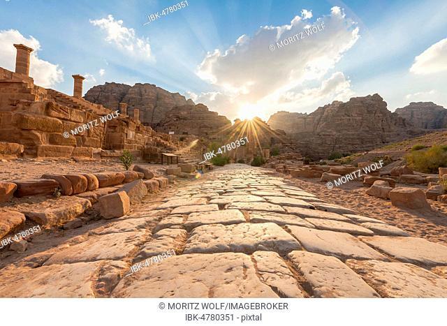 Ancient Roman road next to ruins of Petra, Nabataean city of Petra, near Wadi Musa, Jordan