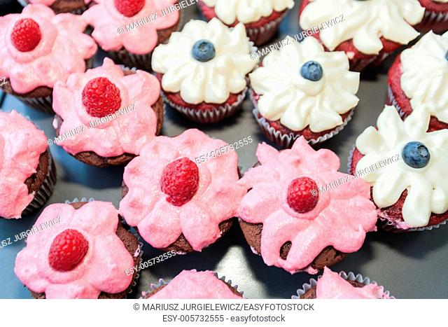 Tray full of delicious home made cupcakes with cream