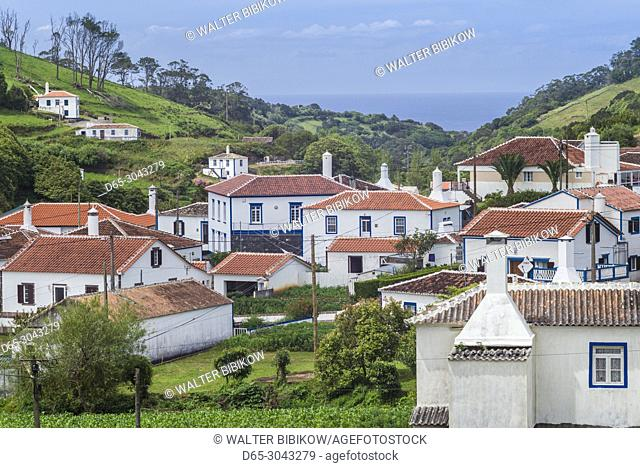 Portugal, Azores, Santa Maria Island, Santa Barbara, elevated town view