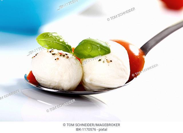 Mozzarella balls with tomatoes and basil