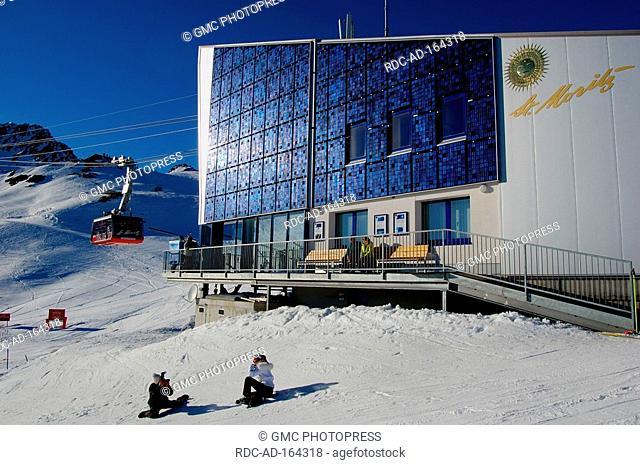 Piz Nair cable Railway lower station with solar panel St Moritz Corviglia Engadin Graubunden Switzerland alps Graubünden
