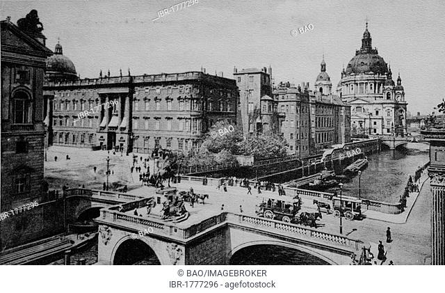 Kurfuerstenbruecke Elector Bridge, Berliner Stadtschloss palace and Berlin Cathedral, Berlin, Germany, Europe, historical photo from around 1899