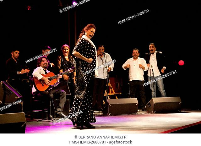 Spain, Catalonia, Barcelona, Paralel District, Sala Apolo, Flamenco guitar, Diego del Morao and Antonio Rey, La Fabi singing and dancing, Piraña percussionist