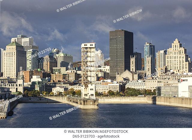 Canada, Quebec, Montreal, city skyline from the St. Lawrence River