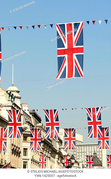 Union Jack Flags along Regent Street to Celebrate the Royal Wedding,London,England