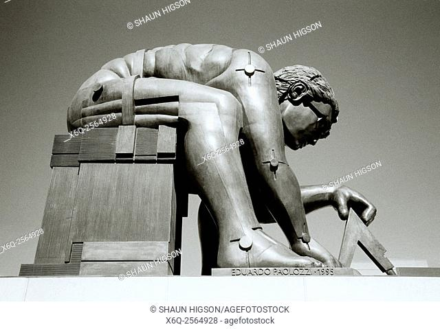 Eduardo Paolozzi sculpture of Sir Isaac Newton in the British Library in London in England in Great Britain in the United Kingdom UK Europe