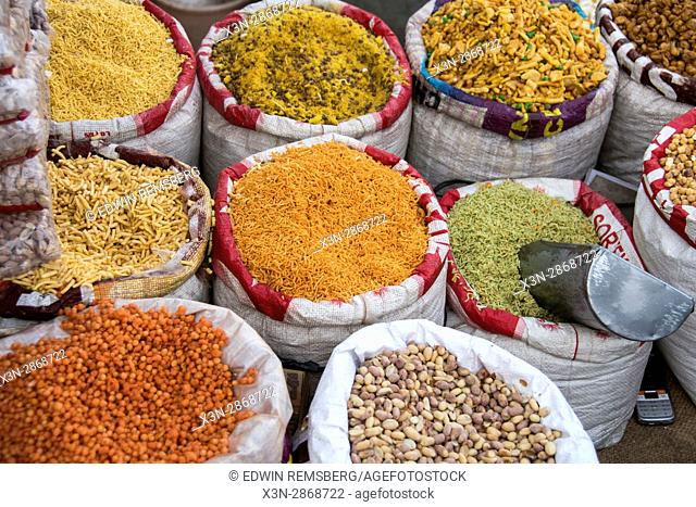 Various grains being sold at an open market in Jaipur, India