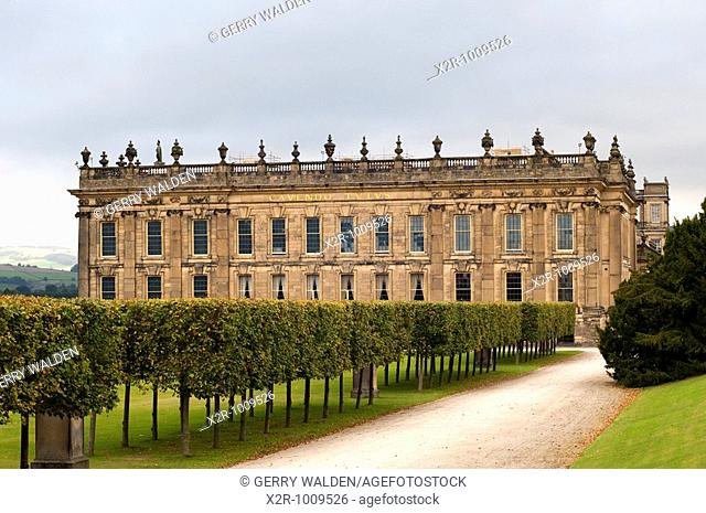 The southern elevation of Chatsworth House, Derbyshire, England  Chatsworth is the home of the Duke and Duchess of Devonshire