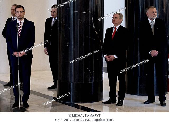 From left: speaker Jiri Ovcacek, Czech presidential protocol head Miroslav Sklenar, head of the Presidential Office Vratislav Mynar and Zeman's head secretary...