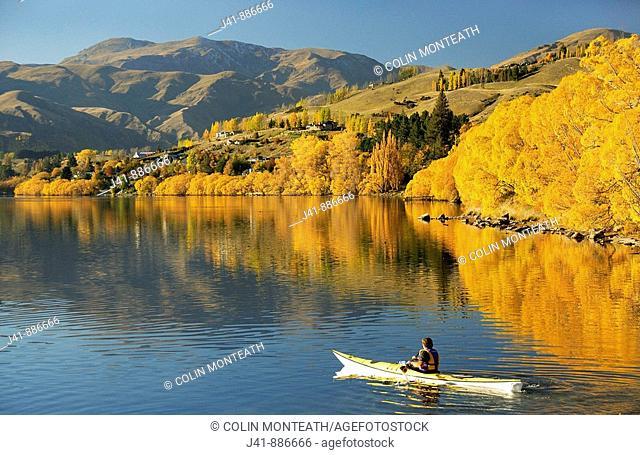 Kayaking on Lake Hayes near Arrowtown Central Otago New Zealand