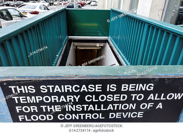 New York, New York City, NYC, Lower Manhattan, SOHO, subway, station, MTA, public transportation, rapid transit, entrance, stairs, temporary closure