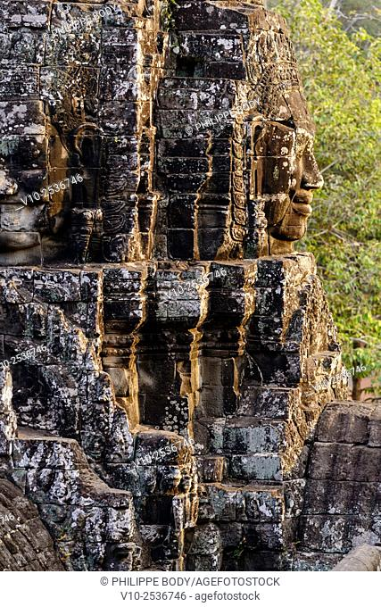 Cambodia, Angkor on World Heritage list of UNESCO, Bayon temple, built in XII-XIII century by King Jayavarman VII