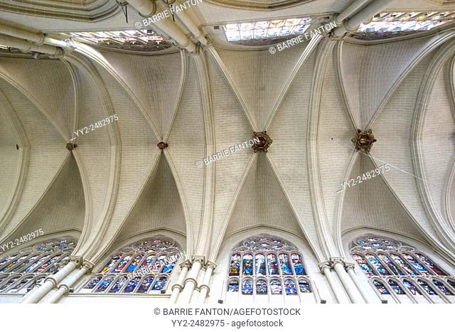 Ceiling and Stained Glass Windows, Cathedral, Toledo, Spain
