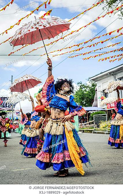 Participants of the dance contest during the celebration of Dinagyang in homage to 'The Santo Niño', the patron saint of many Philippino cities  Iloilo