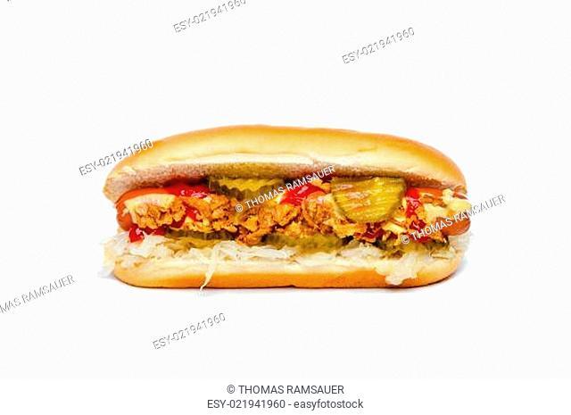 Hotdog/Hot Dog vor Weiß