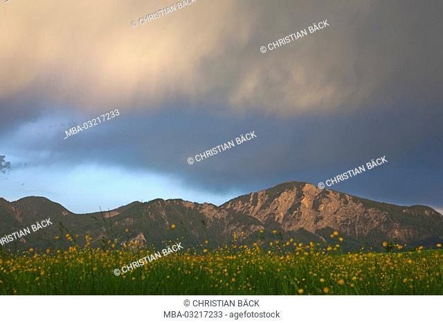 Storm clouds over the Jochberg, Großweil, Kochelsee moss, 'Blaues Land', Alpine foreland, Bavaria, Germany